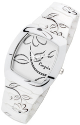 Rougois Ladies Bloom Series White Ceramic Rose Accents Watch