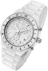 Rougois White Ceramic Ladies Chronograph Watch - DISCONTINUED