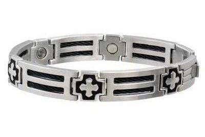 Sabona Cross Cable Stainless Magnetic - Mens Executive Bracelet
