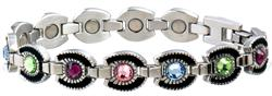 Sabona Ladies Multicolor Gem Horseshoe Magnetic- Ladies Western Bracelet - DISCONTINUED