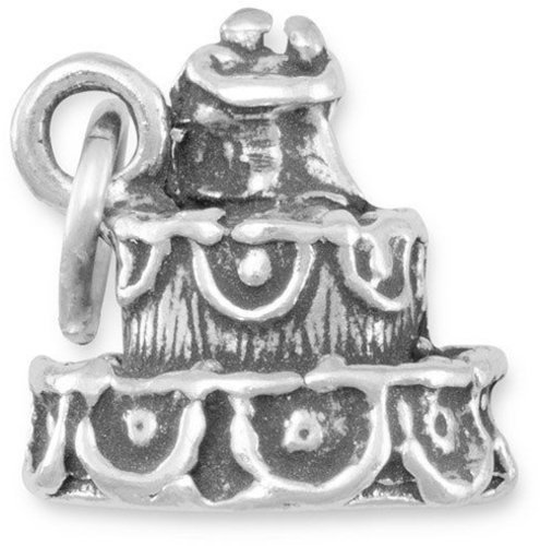 Wedding Cake Charm 925 Sterling Silver
