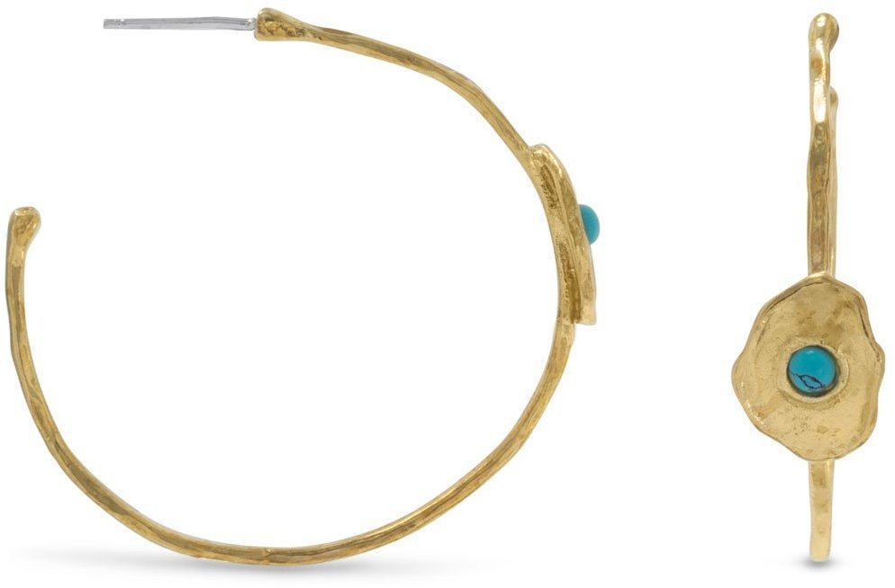 Brass and Turquoise Hoops 925 Sterling Silver
