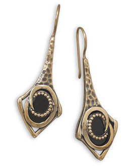 Bronze and Black Onyx Earrings - LIMITED STOCK