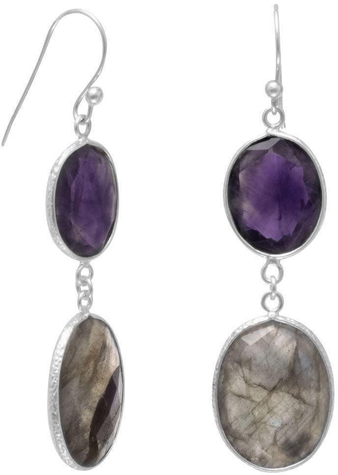 Freeform Amethyst and Labradorite Earrings 925 Sterling Silver