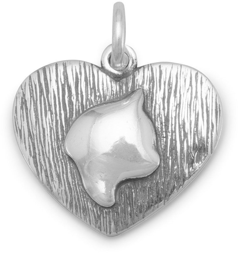 Oxidized Cat Silhouette Charm 925 Sterling Silver
