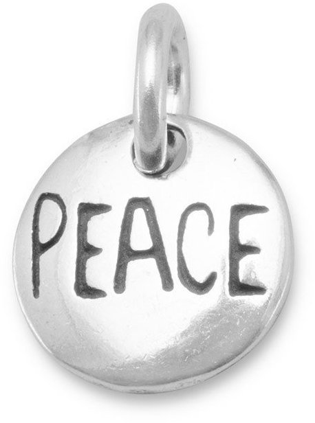 Oxidized Peace Charm 925 Sterling Silver