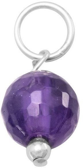 Faceted Amethyst Bead Charm - February Birthstone 925 Sterling Silver
