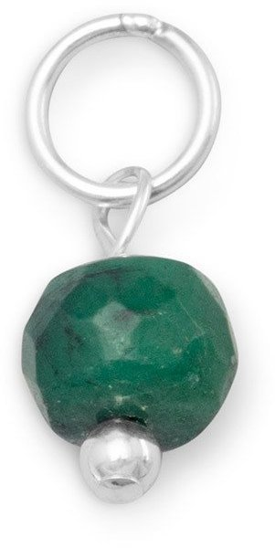 Emerald Charm - May Birthstone 925 Sterling Silver