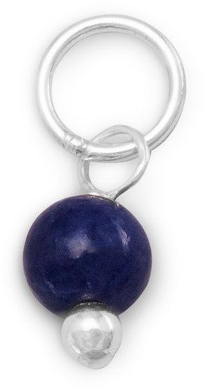 Sapphire Bead Charm - September Birthstone 925 Sterling Silver