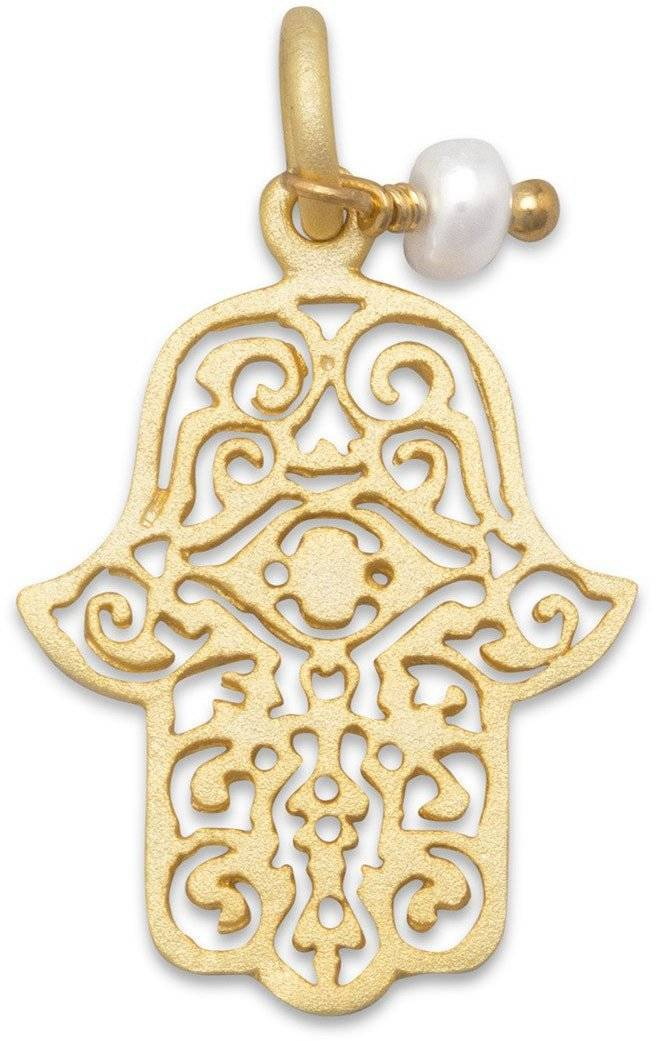 14 Karat Gold Plated Sterling Silver Hamsa Charm 925 Sterling Silver