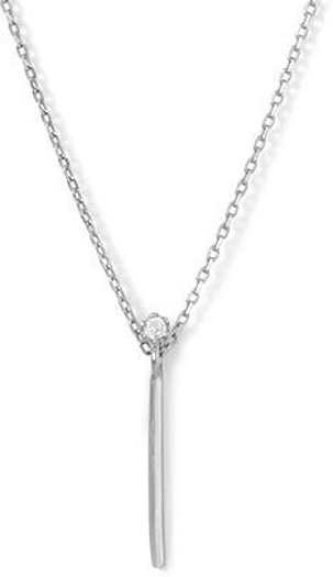 "16"" + 2"" Rhodium Plated Vertical Bar and CZ Necklace 925 Sterling Silver"