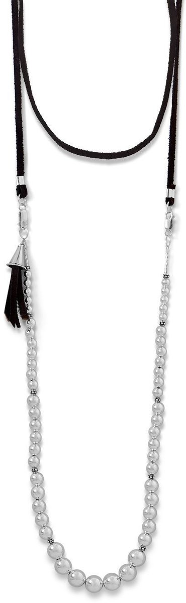 4-Way Suede and Silver Bead Necklace 925 Sterling Silver