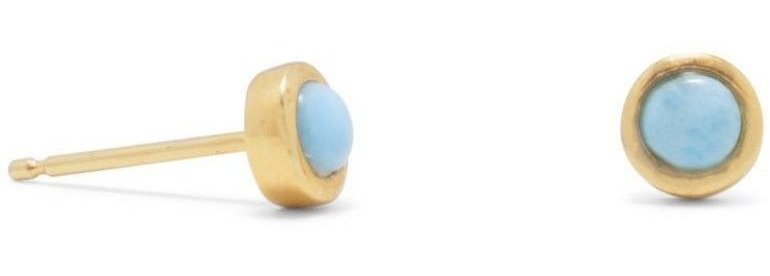 18 Karat Gold Plated Larimar Button Stud Earrings 925 Sterling Silver
