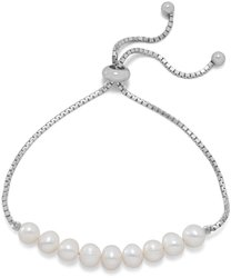 Rhodium Plated Cultured Freshwater Pearl Friendship Bracelet 925 Sterling Silver