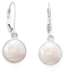 Cultured Freshwater Coin Pearl Drop Earrings 925 Sterling Silver