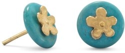 Gold Plated Flower & Reconstituted Turquoise Disk Stud Earrings Sterling Silver