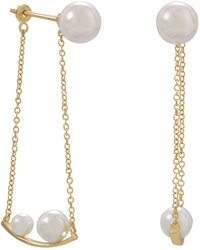 Gold Plated Simulated Pearl Front Back Swing Earrings 925 Sterling Silver