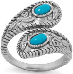Rhodium Plated Reconstituted Turquoise Wrap Ring 925 Sterling Silver