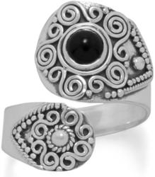 Oxidized Black Onyx Wrap Ring 925 Sterling Silver