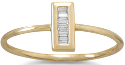 Gold Plated Mini CZ Vertical Bar Ring 925 Sterling Silver