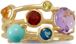 Gold Plated Multi Gemstone Ring 925 Sterling Silver