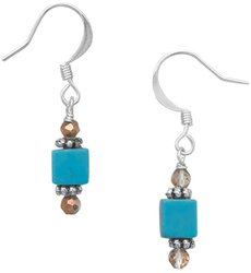 Simulated Turquoise and Glass Bead Fashion Earrings