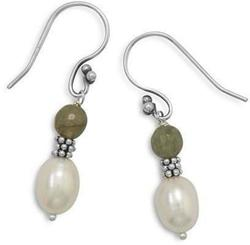 Faceted Labradorite and Cultured Freshwater Pearl Earrings 925 Sterling Silver