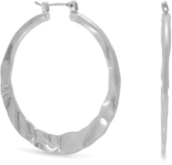 Hammered Silver Tone Fashion Hoop Earrings