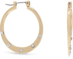 Gold Tone Fashion Hoop Earrings with Crystals