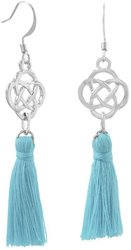Silver Tone Fashion Earrings with Blue Threaded Tassels