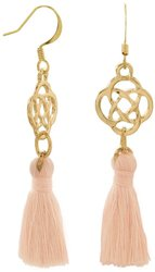 Gold Tone Fashion Earrings with Peach Threaded Tassels