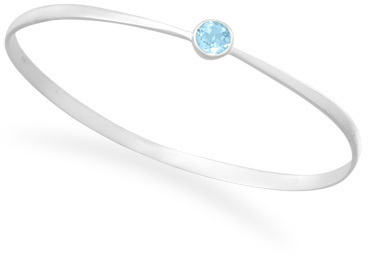 Matte Finish Blue Topaz Bangle 925 Sterling Silver - CLEARANCE