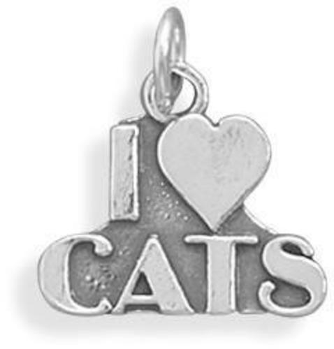 I love Cats Charm 925 Sterling Silver