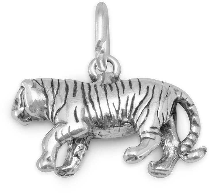 Oxidized Tiger Charm 925 Sterling Silver
