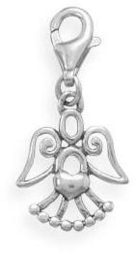 Cut Out Angel Charm with Lobster Clasp 925 Sterling Silver
