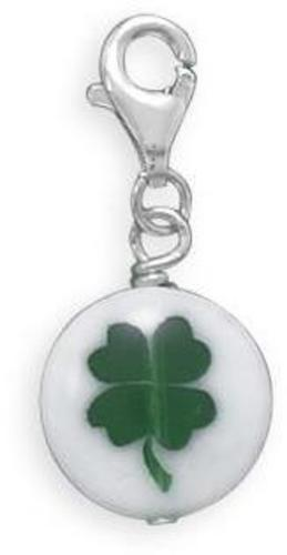 Glass 4 Leaf Clover Charm with Lobster Clasp 925 Sterling Silver