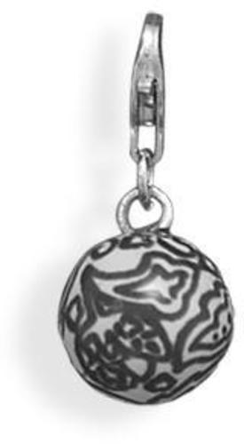 Paisley Bead Charm with Lobster Clasp 925 Sterling Silver