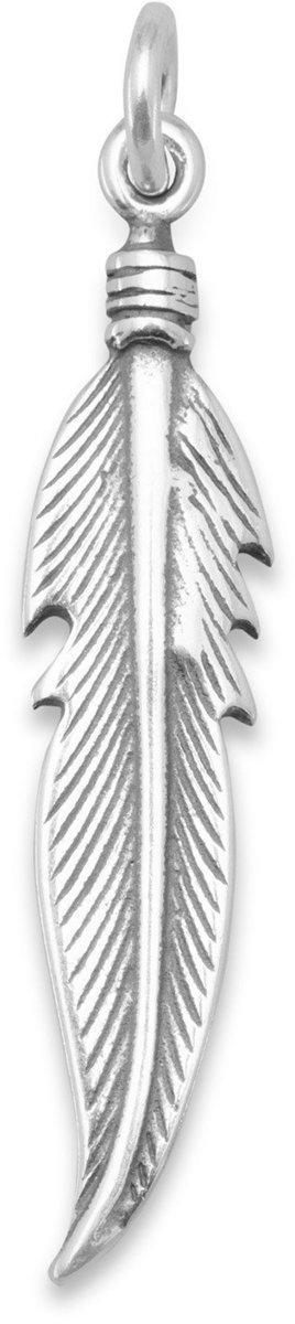 Oxidized Feather Charm 925 Sterling Silver