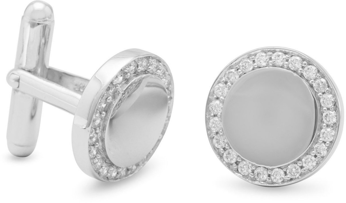 Rhodium Plated Cuff Links with CZ Edge 925 Sterling Silver