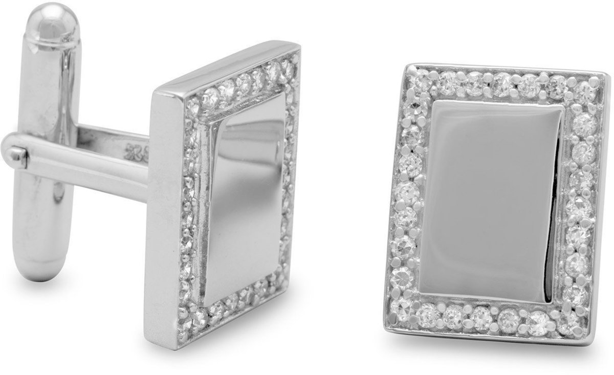 Rhodium Plated Rectangular Cuff Links with CZ Edge 925 Sterling Silver