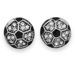 Crystal Soccer Ball Fashion Earrings - LIMITED STOCK