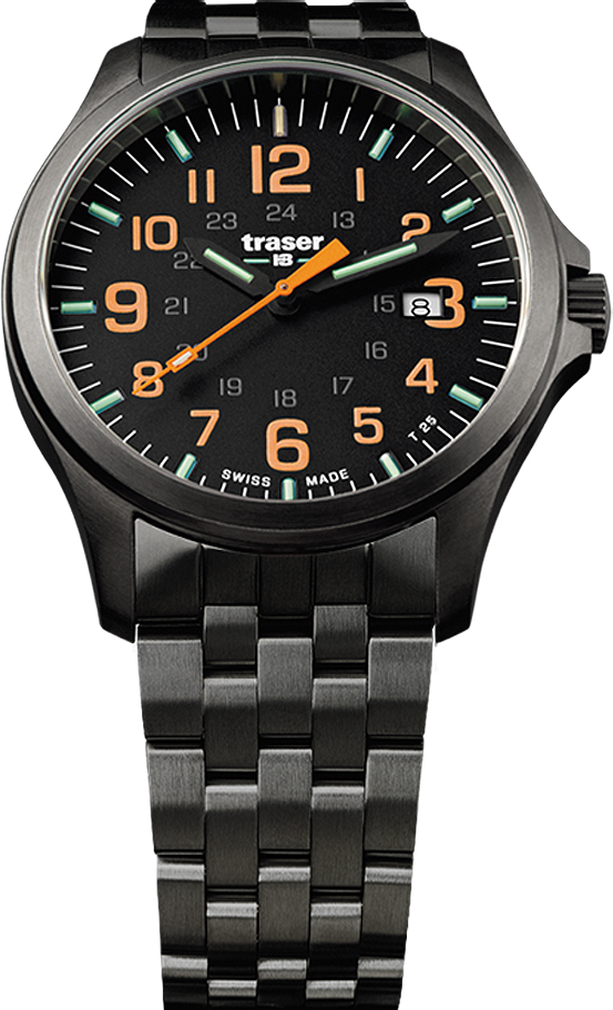 Traser Tritium Watch - Novelties Collection - P67 Officer Pro Gunmetal Black/Orange w/ PVD Stainless Steel Black Bracelet - 107870