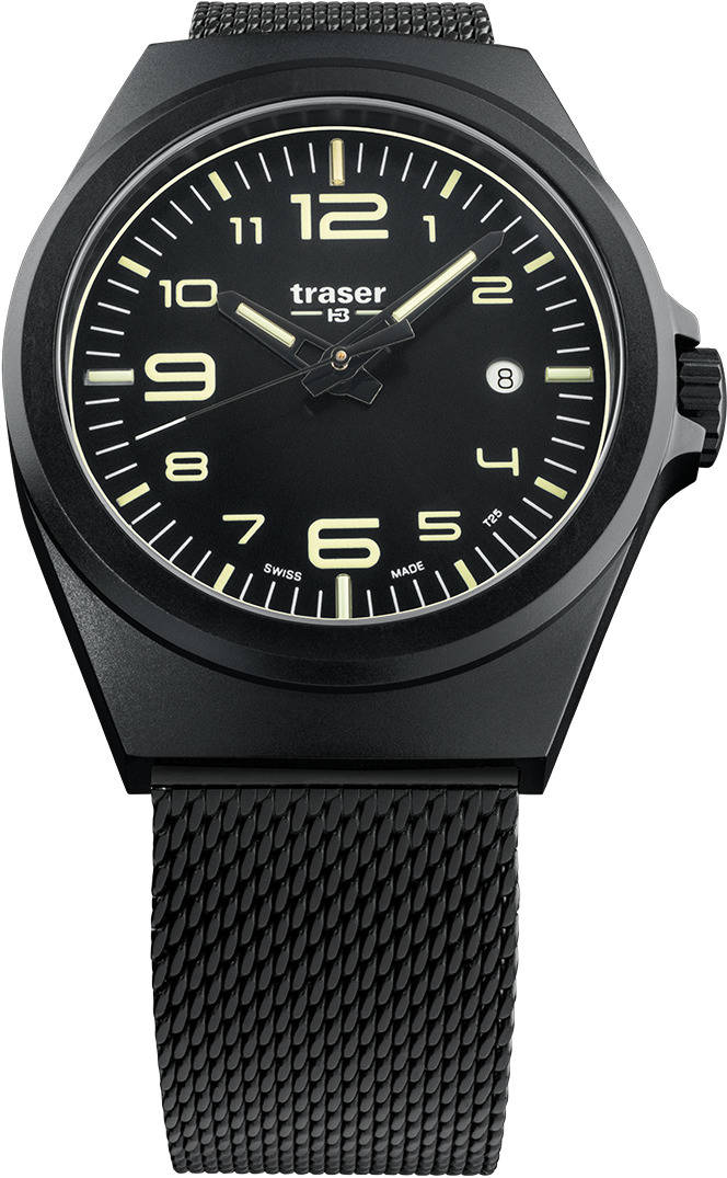 Traser Tritium Watch - P5900 Essential M Black w/ Stainless Steel Band - 108206