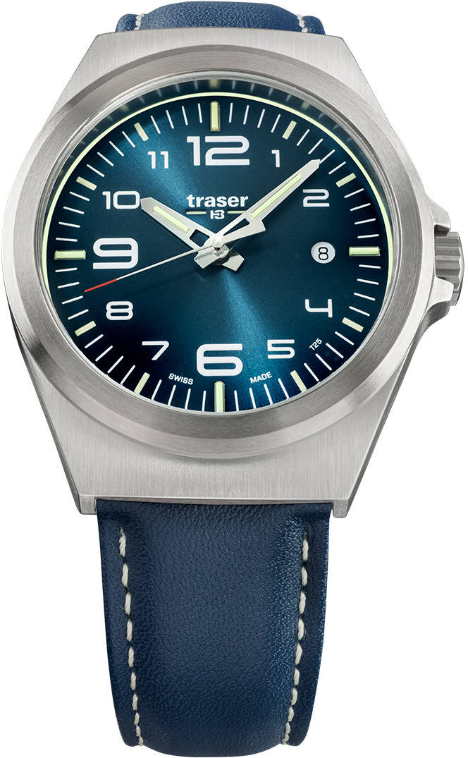 Traser Tritium Watch - P59 Essential M Blue w/ Blue Leather Band - 108214