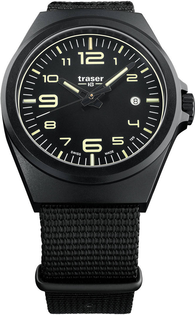 Traser Tritium Watch - P59 Essential M Black w/ Black Nylon Strap - 108218