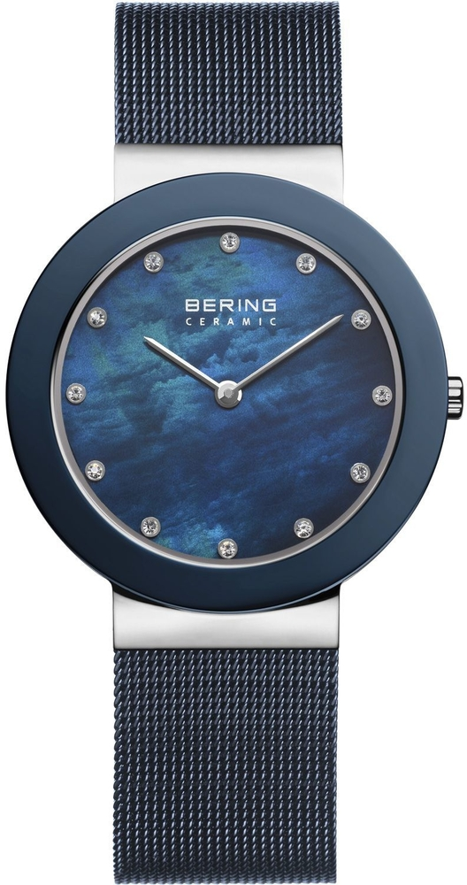 Bering Time - Ceramic - Ladies Milanese Blue Watch 11435-387 (Womens)