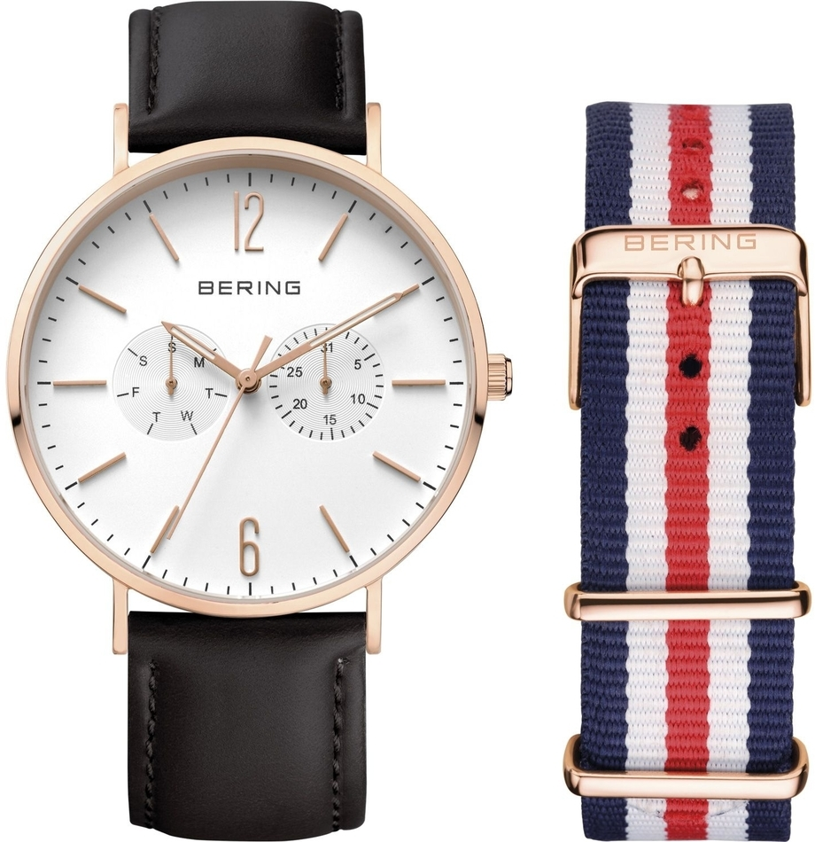 Bering Time - Classic - Unisex Rose Gold Multifunction Watch w/ 2 Straps (Black Leather & Blue/Red Nylon) 14240-464