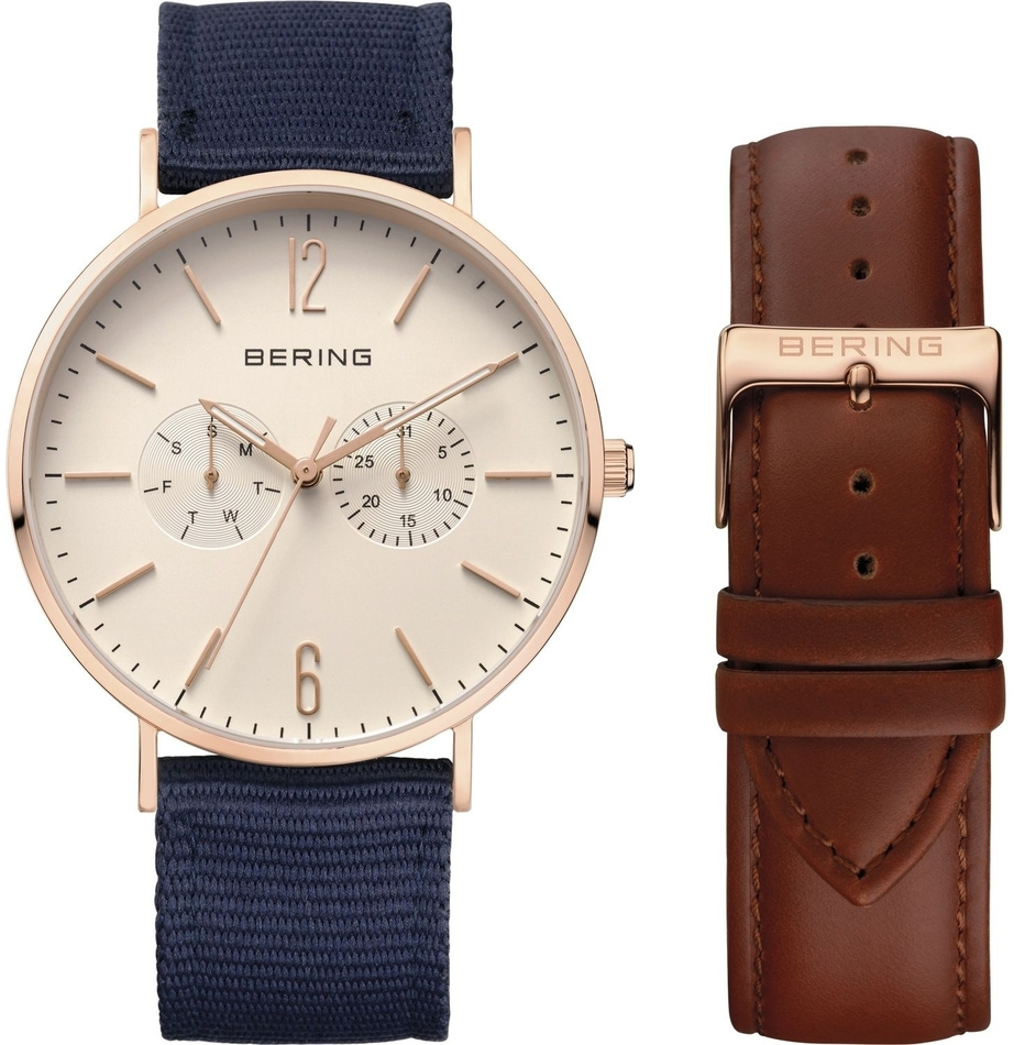 Bering Time - Classic - Unisex Rose Gold Multifunction Watch w/ 2 Straps (Brown Leather & Blue Nylon) 14240-564