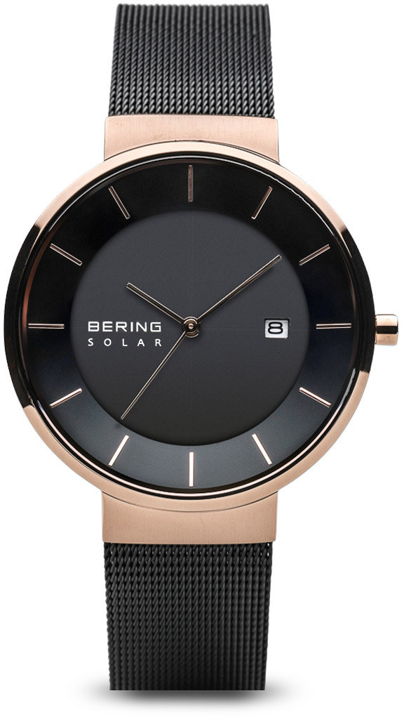 Bering Time Watch -  Solar Ladies Pink Case and Black Mesh Band 14639-166
