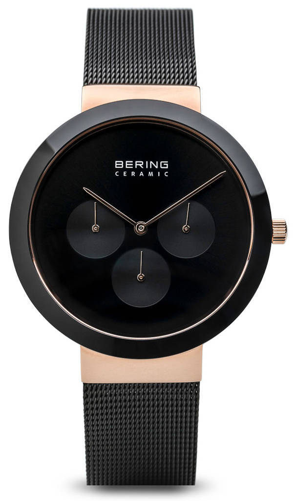 Bering Time Watch - Ceramic Mens with Black Dial & Mesh Strap 35040-166